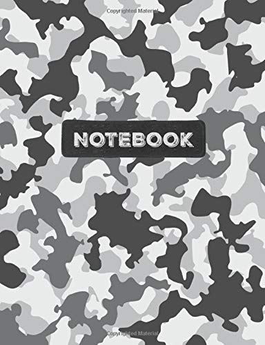 Notebook: Cool Army Snow Winter White Camo Camouflage Wide Ruled Composition Note Book, Diary or Journal | 100 pages | 7.44