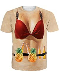 NEWISTAR Unisex 3D Druck Hawaiian Shirt T-Shirt Tees Tops mit Rundhalsausschnitt S-XXL