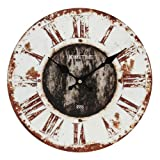 """Hometime Rustic / Shabby Round 30cm Wooden Wall Clock - """"Rural"""""""