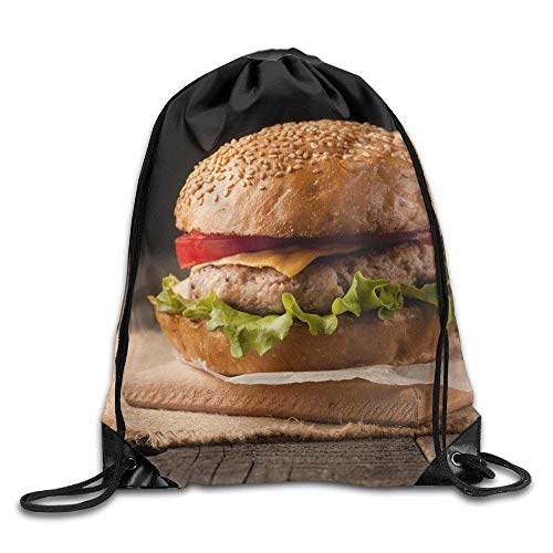 WSTREE Close Up Photo of Home Made Hamburger with Beef Onion Tomato Lettuce Cheese and Spices Fresh School Gym Backpack -