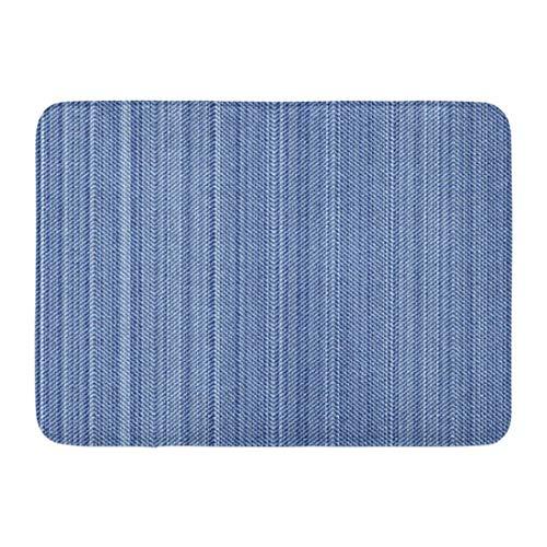 LIS HOME Fußmatten Bad Teppiche Outdoor/Indoor Fußmatte Muster Fischgrät Vintage Blue Jeans Denim ist Distressed Material Winkel Badezimmer Dekor Teppich Badematte Distressed Blue Jeans