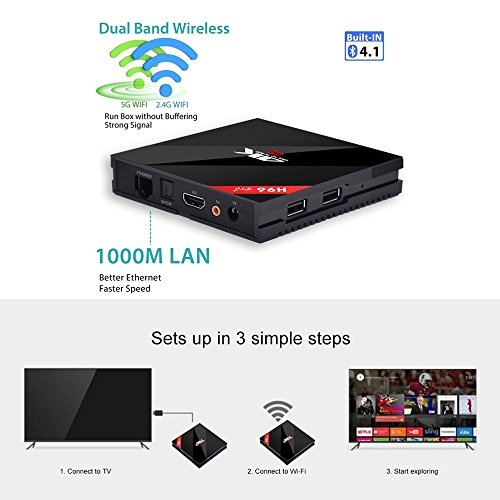 SINUK 2018 H96 Pro Plus Amlogic 912 Octa-core  Android 7.1  3GB+32GB TV Box, Support 2.4G/5G Dual Wifi 1000M LAN Ethernet Bluetooth4.1