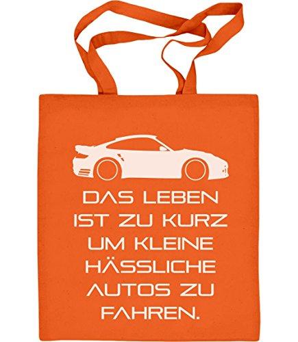 Das Leben Ist Zu Kurz Um Kleine Hässliche Autos Zu Fahren Jutebeutel Baumwolltasche Orange