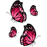 Set 4x autocollant sticker voiture moto macbook deco papillon rose frigo vinyl