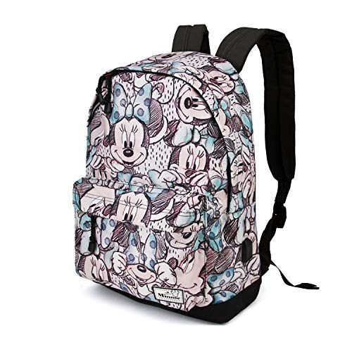 Disney Damen Minnie Maus (KARACTERMANIA Disney Classic Minnie Drawing-HS Backpack Rucksack, 44 cm, 23 liters, Grau (Grey))