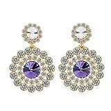 Kyra Purple Color Sparkling Crystals Ear...