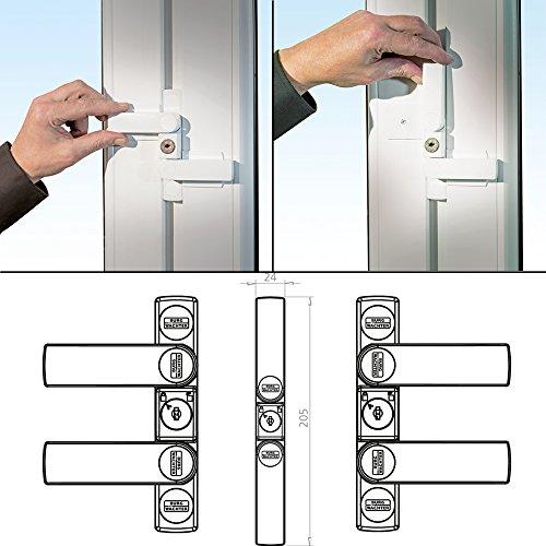 BURG-WÄCHTER Fenstersicherung mit 2 Schwenkriegeln, Für einflügelige und zweiflügelige Fenster aus Holz oder Aluminium, 2 Schlüssel, WinSafe WS 22 W SB - 4