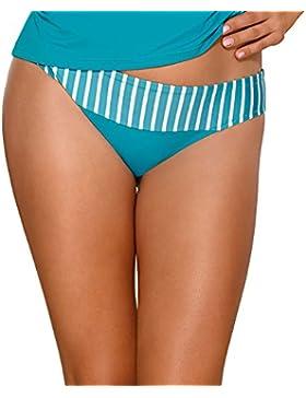 Ava STF-11 bikini slip liscio bicolorato in strisce a vita regolare - fabbricato in UE