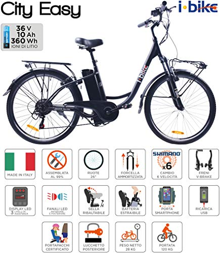 i-Bike City Easy Bicicletta Elettrica Unisex - Adulto, Nero, 180 x 90 x 32 cm