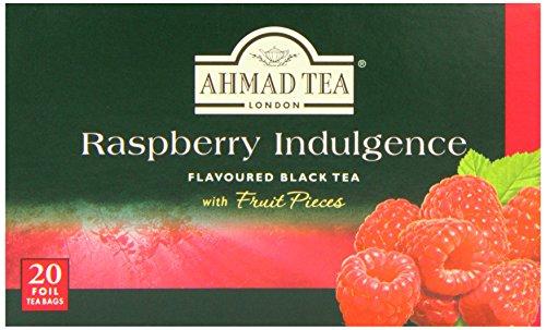 Ahmad Tea Raspberry Indulgence Fruit-Flavoured Black Tea - 20 Teabags (Pack of 6, Total 120 Teabags)
