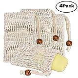 EXQULEG Sacchetto porta sapone, 4 pezzi, in fibre naturali da schiumare, biodegradabile, effetto peeling