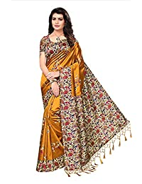 Ishin Art Silk / Blended Mysore Silk Mustard Yellow Printed Women's Saree/Sari With Tassels