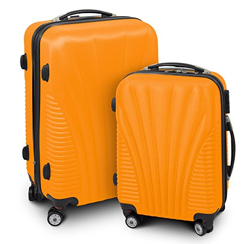 Kofferset M + L 2-teilig Reisekoffer Trolley Hartschalenkoffer ABS Teleskopgriff Modell 'Funnel' (Orange)