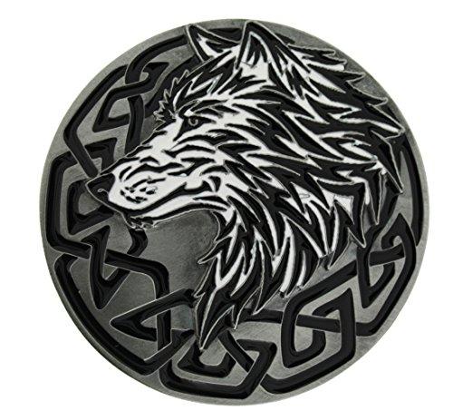 Tribal Wolf Head Gürtelschnalle in einer meiner Präsentationsschachteln. (Gürtelschnalle Wolf)