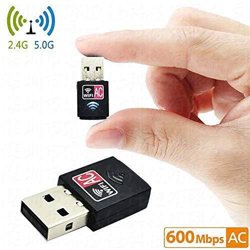 LYXLQ WiFi Empfänger, 600M Dual-Band Mini 5G Wireless Netzwerkkarte Computer Externer USB WiFi Empfangsadapter WPA-PSK / WPA2-PSK/WPA / WPA2 / 64/128 Bit WEP Verschlüsselung -