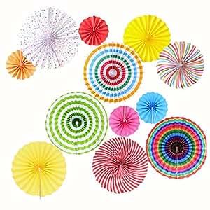 Mexikanische fiesta zum aufh ngen papier fans colorful for Mexikanische dekoration