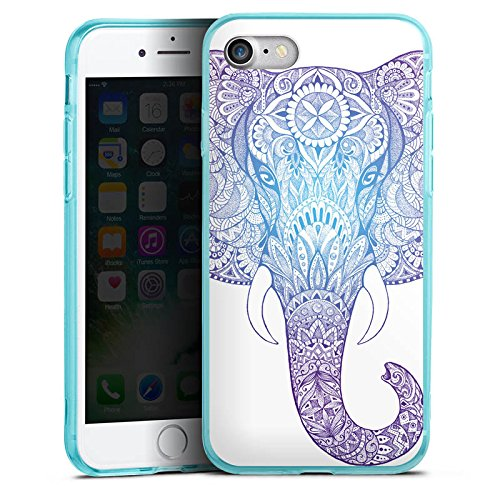 Apple iPhone 8 Silikon Hülle Case Schutzhülle Elefant Mandala Ornamente Silikon Colour Case eisblau