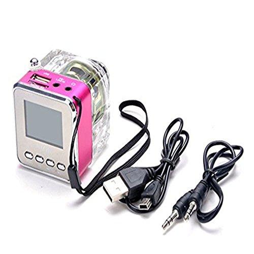 MOKE Disco Radio mini altoparlante portatile LCD Display USB di musica MP3 / 4 Player micro SD USB TF FM (rosa) rosa