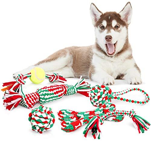 Pecute Juguetes de Cuerda para Perros Navidad 6 Piezascon...
