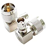 exgoofit PL259 UHF Male Plug to BNC Female Connector Right Angle 90 Degrees Jack Adapter Radio Adapter PL259 RF Coax Coaxial Cable Connector (2-Pack)