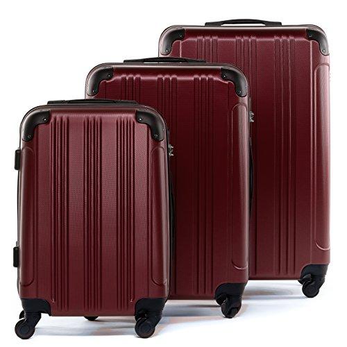 FERGÉ Kofferset 3-teilig Hartschale QUÉBEC rot Rollkoffer Reise-Koffer Set 55 cm 66 cm 77 cm XL 3er Hartschalenkoffer Trolley-Set 4 Rollen 360°