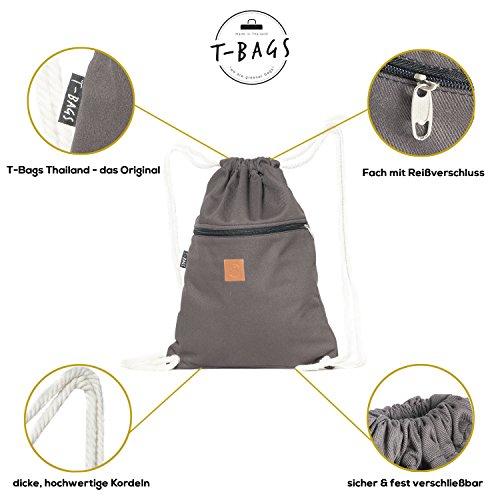 Original ♡ T-BAGS Thailand Turnbeutel Hipster | 18 coole Designs | mit Reißverschluss | Baumwoll Beutel mit hohem Tragekomfort (Grau) - 5