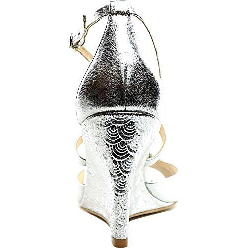 Badgley Mischka Cabina Peep Zehe Leder Keilabsätze Silber
