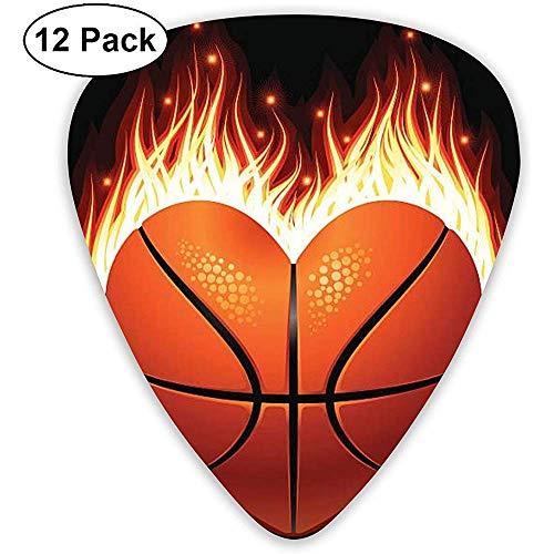 Heart Basketball Fire Guitar Picks 12 Packungen für Bass-, Elektro- und Akustikgitarren, dünn, mittel, schwer, 0,46/0,71/0,96 mm