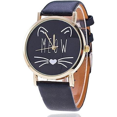darpy (TM) 2016New Fashion Lovely gatto gatto Casual Donne Orologio Da Polso Di Lusso Orologio al Quarzo Relogio feminino regalo orologio, Black