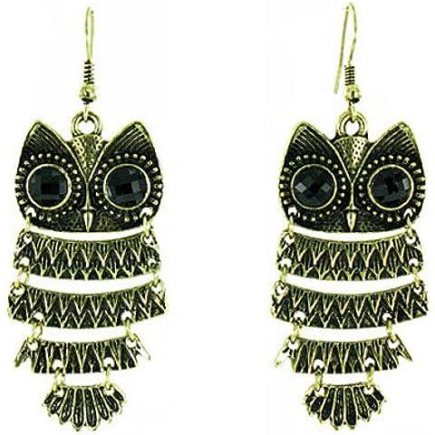 ilovefj colore: nero/oro-Orecchini pendenti a goccia, stile Vintage, motivo gufo