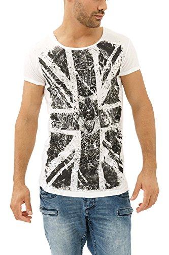 trueprodigy Casual Herren Marken T-Shirt mit Aufdruck, Oberteil Cool und Stylisch mit Rundhals (Kurzarm & Slim Fit), Shirt für Männer in Bedruckt, Größe:L, Farben:Weiß