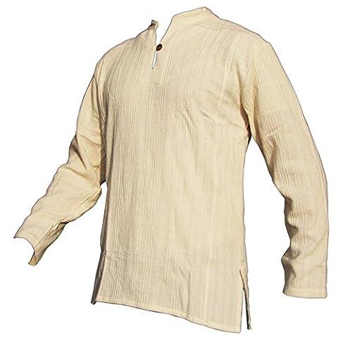 PANASIAM Fisherman Hemd, aus 100% echter freshrunk Baumwolle, naturweiss, L,