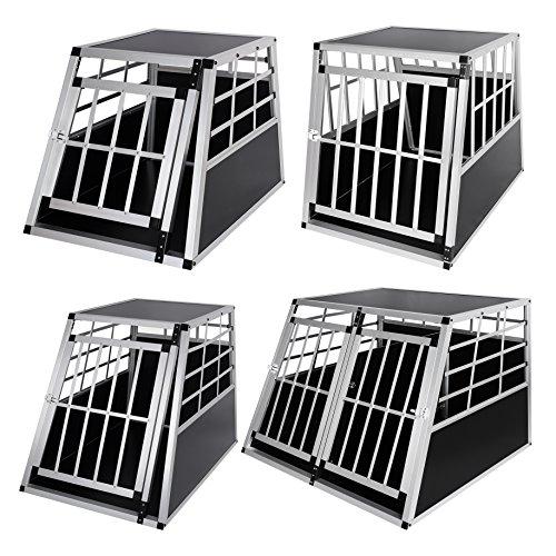 Hundebox Hundetransportbox Aluminium Alu Transportbox Alubox Hund Box 1 Türig Reisebox Gitterbox Schwarz/Silber HT2011 - 2