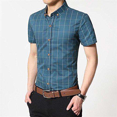 Image of AIYINO Mens 100% Cotton Casual Slim Fit Short Sleeve Button Down Dress Shirt (Medium, G-Acid Blue)