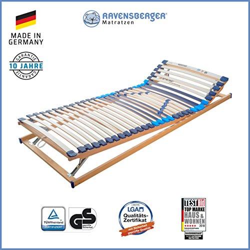 RAVENSBERGER MEDITOP 30-Leisten-Buche-Lattenrahmen | 5-Zonen-Buche-Lattenrahmen | Verstellbar | Made IN Germany - 10 Jahre GARANTIE | TÜV/GS + Blauer Engel - Zertifiziert | 100 x 200 cm