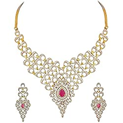 YouBella Jewellery American Diamond Gold Plated Necklace Set with Earrings For Women