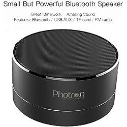 Photron P10 Wireless 3W Super Bass Mini Metal Aluminium Alloy Portable Bluetooth Speaker with Mic, LED Light, Micro SD Card Slot, FM Radio, AUX Mode, Black