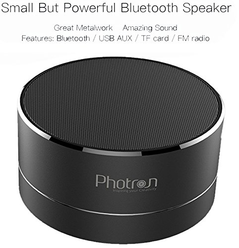 Photron P10 Wireless 3W Super Bass Mini Metal Aluminium Alloy Portable Bluetooth Speaker with Mic, LED Light, Micro SD Card Slot, FM Radio, AUX Mode, Black