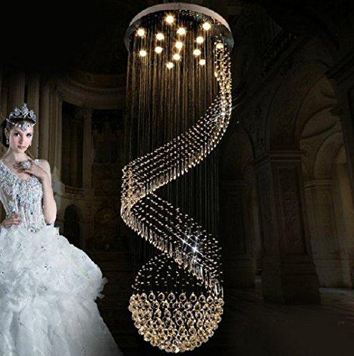 Gowe Dia80 * H300 cm Luxe moderne Grand lustre en cristal lumières Lustre spirale Motif maison d'escalier d'éclairage