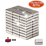 Neodymium magnets, 30 pack of Strong heavy duty refrigerator Rare earth magnets, Grade N48 Magnetic Circular Square 10x10x3 mm, Perfect for Fridge, Pin Board, White board, Force: 2.5kg