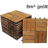 SAM® Terrassenfliese 02 aus Akazien-Holz, FSC® 100 % zertifiziert, 88er Spar-Set für 8 m², Garten-Fliese in 30 x 30 cm, Bodenbelag mit Drainage, Klick-Fliesen für Terrasse Garten Balkon