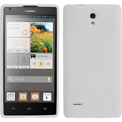 PhoneNatic Case für Huawei Ascend G700 Hülle Silikon weiß X-Style Cover Ascend G700 Tasche + 2 Schutzfolien