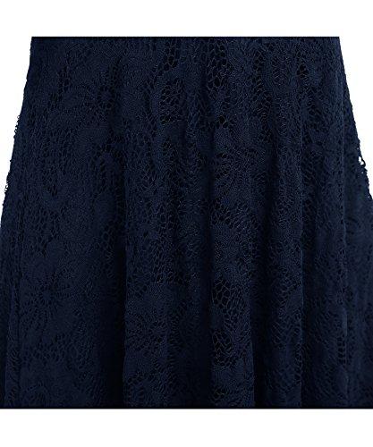 BEIJG Elegantes Spitzekleid-Cocktailkleid Knielanges Weinlese 50s Ballkleid Frauen Party Kleid Navy blau 1