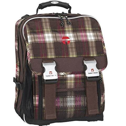 Take it easy - PLAID Braun / Pink(Brown/Pink - LONDON - Schulrucksack Ranzen eckig