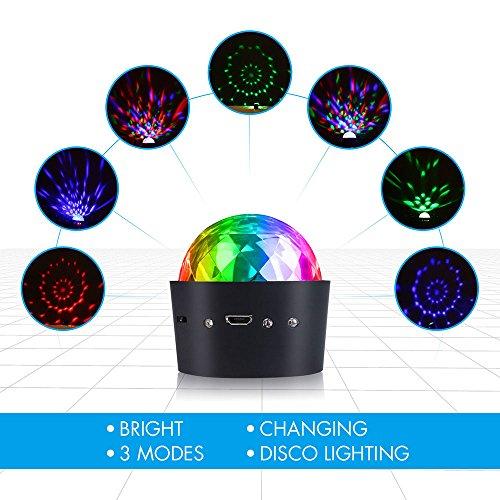 Miuko Mini Disco kugel , Partylicht Discolicht Magic Musik Discokugel Disco beleuchtung Partybeleuchtung DJ Discokugel mit Spiegeln und Glitzer für Parties mit integriertem Akku - 2