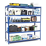 Scaffalatura resistente in acciaio per garage, capacità di carico: 200 kg per ripiano (5livelli, 1.800mm di altezza x 1.800 mm di larghezza x 600 mm di profondità)