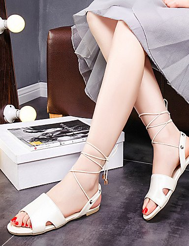 LFNLYX Scarpe Donna-Sandali-Tempo libero / Casual / Formale-Spuntate / Con cinghia / Aperta / Cinturino alla caviglia-Piatto-PU-Blu / Rosa / White