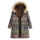 Honestyi (R) Womens Hooded Long Sleeve Cotton Linen Fluffy Fur Zipper Coat Outwear Fashion Parka Winter Warm Thicken Hoodie Plus Size Overcoat Jacket Ladies Wool Trench Sweatshirt S~XXXXXL