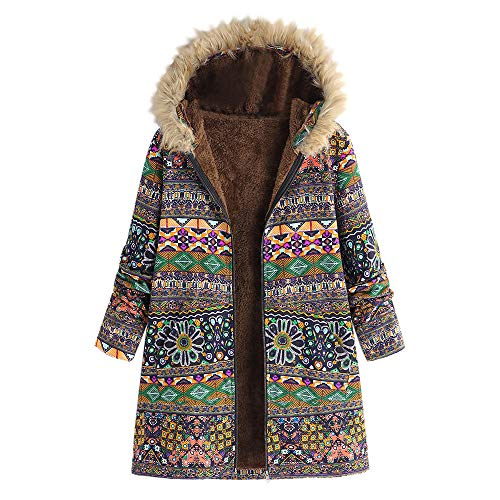 Damen Winter Warm Outwear Blumendruck mit Kapuze Taschen Vintage Oversize Coats Hoher Baumwollanteil Muster Winterparka Lange Winterjacke Mode Outerwear Plüschmantel Strickjacke Felicove