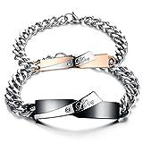 Gkmamrg Ein Paar Damen Herren Pärchen Armbänder, Edelstahl Panzerarmband mit Gravur Love Zirkonia Rosegold Schwarz Silber